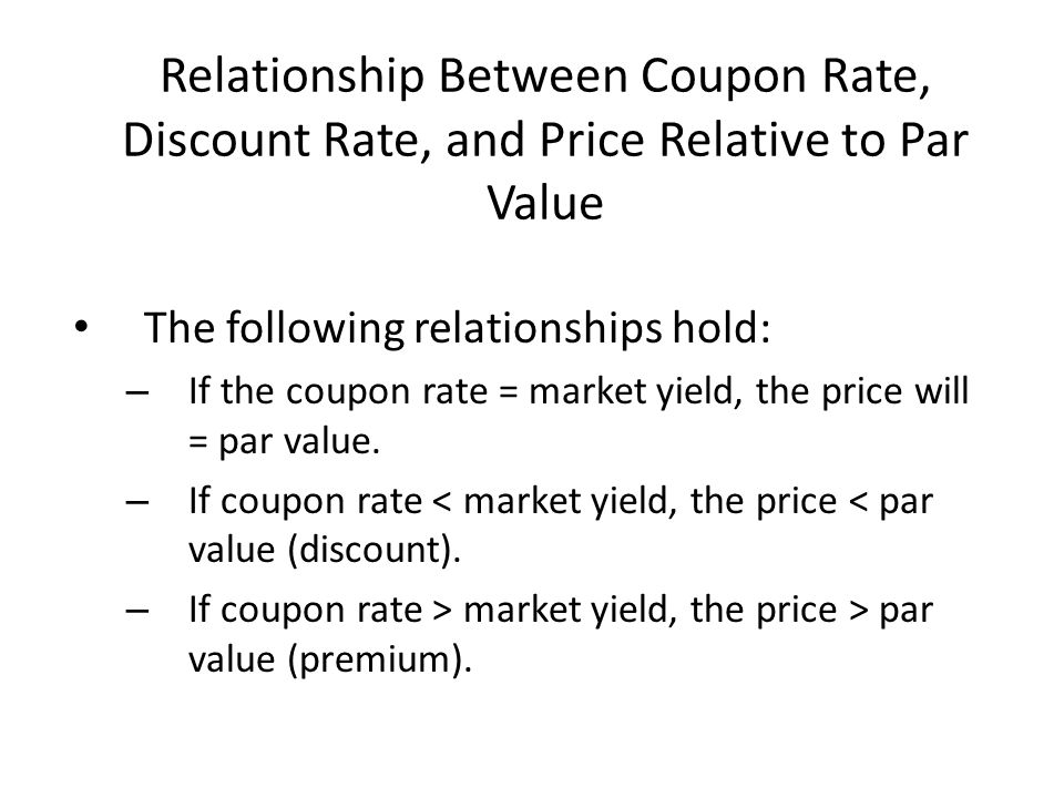 Relationship Between Coupon Rate, Discount Rate, and Price Relative to Par Value