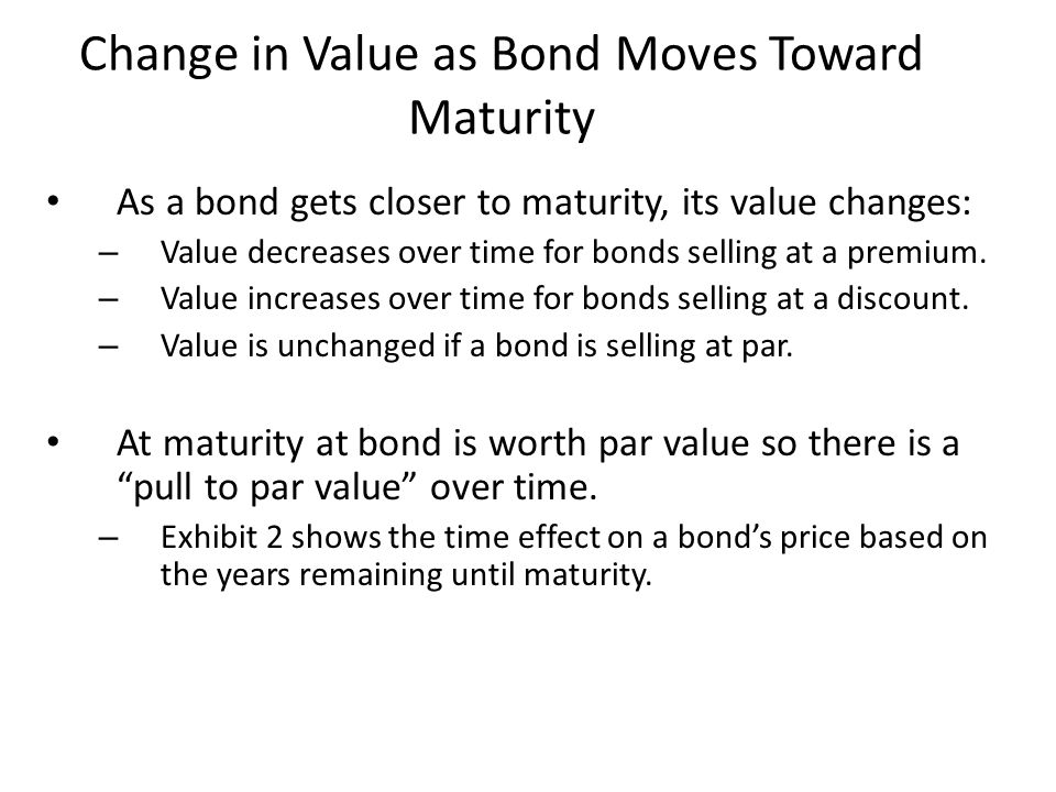 Change in Value as Bond Moves Toward Maturity