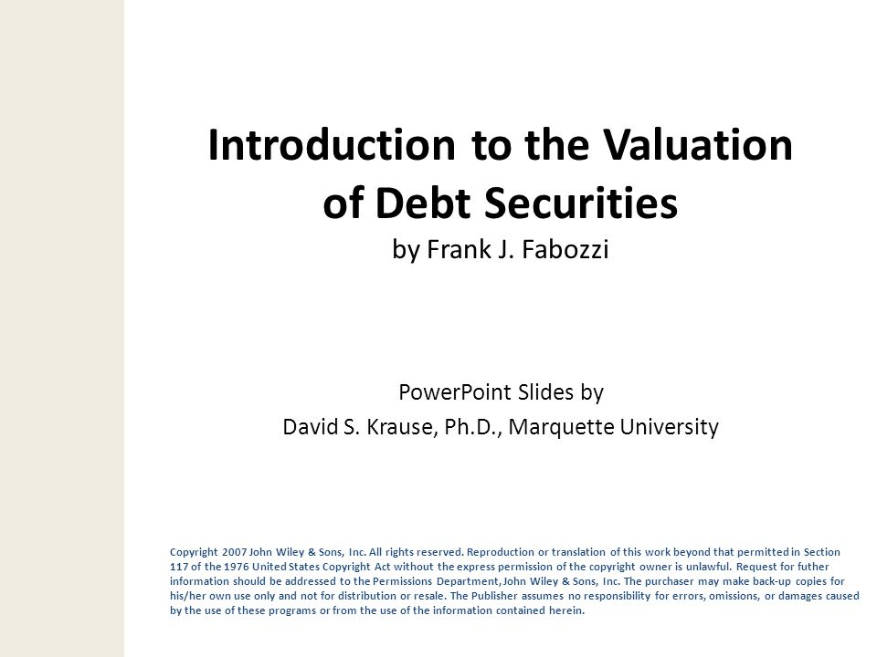 Introduction to the Valuation of Debt Securities by Frank J. Fabozzi