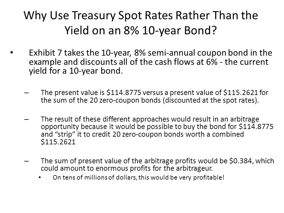 Why Use Treasury Spot Rates Rather Than the Yield on an 8% 10-year Bond