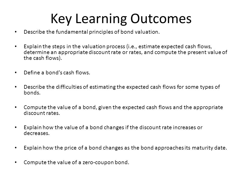 Key Learning Outcomes Describe the fundamental principles of bond valuation.