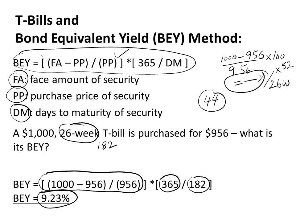 T-Bills and Bond Equivalent Yield (BEY) Method: