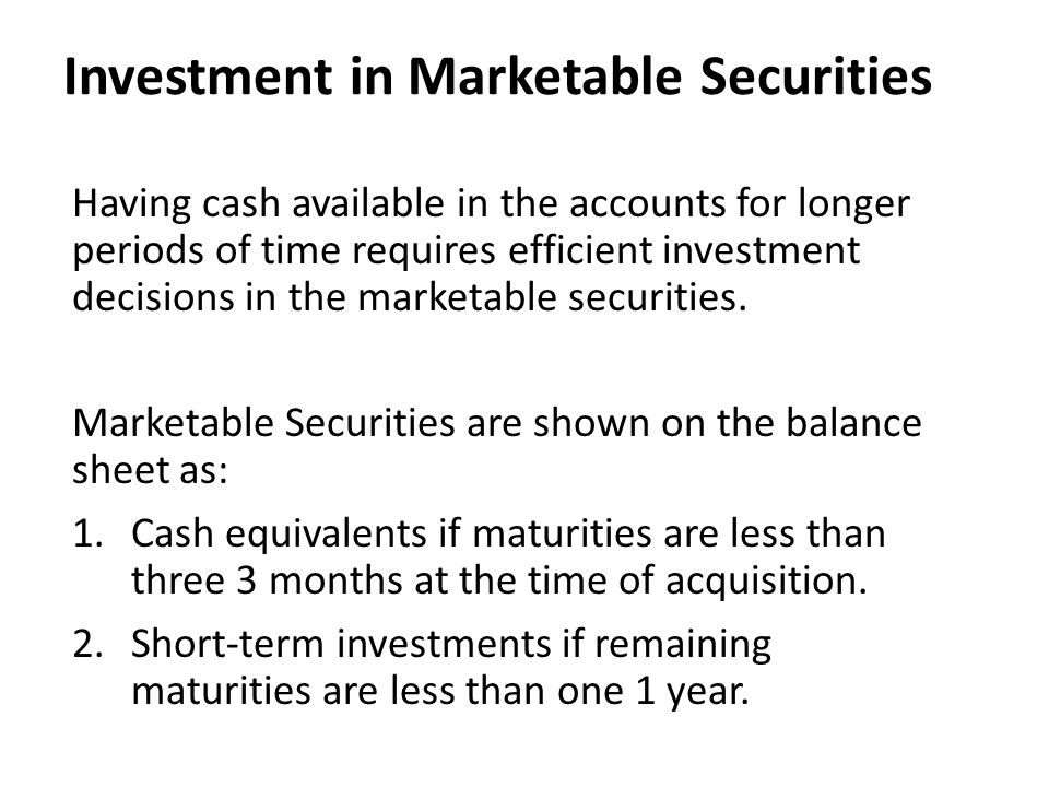 Investment in Marketable Securities