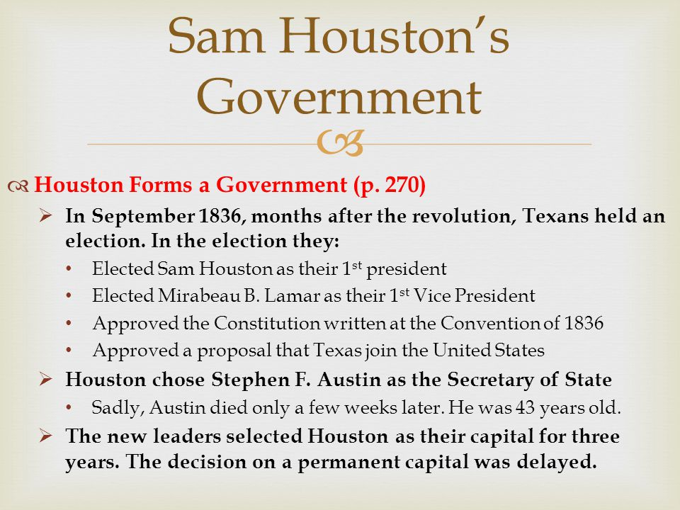 Sam Houston's Government