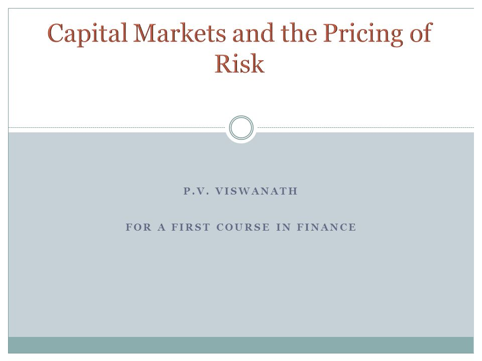 Capital Markets and the Pricing of Risk
