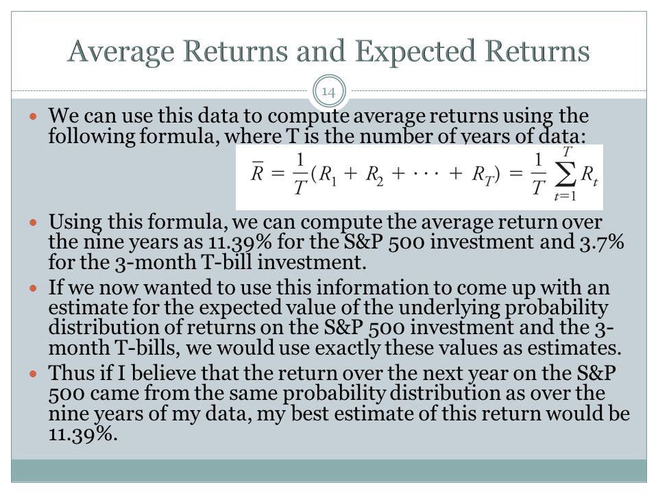 Average Returns and Expected Returns