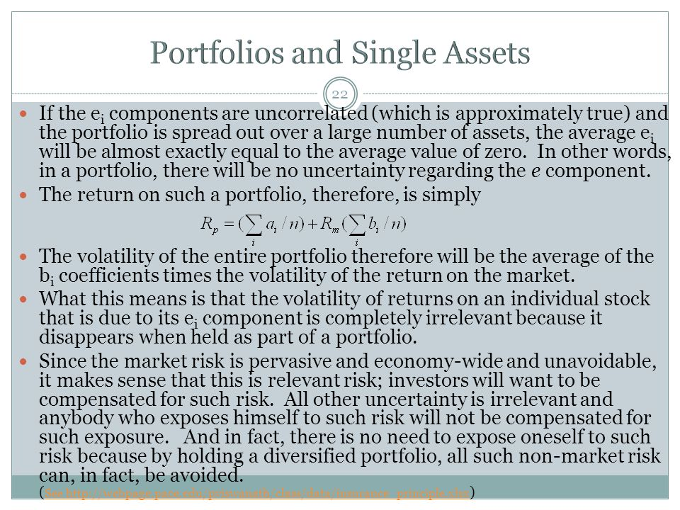 Portfolios and Single Assets