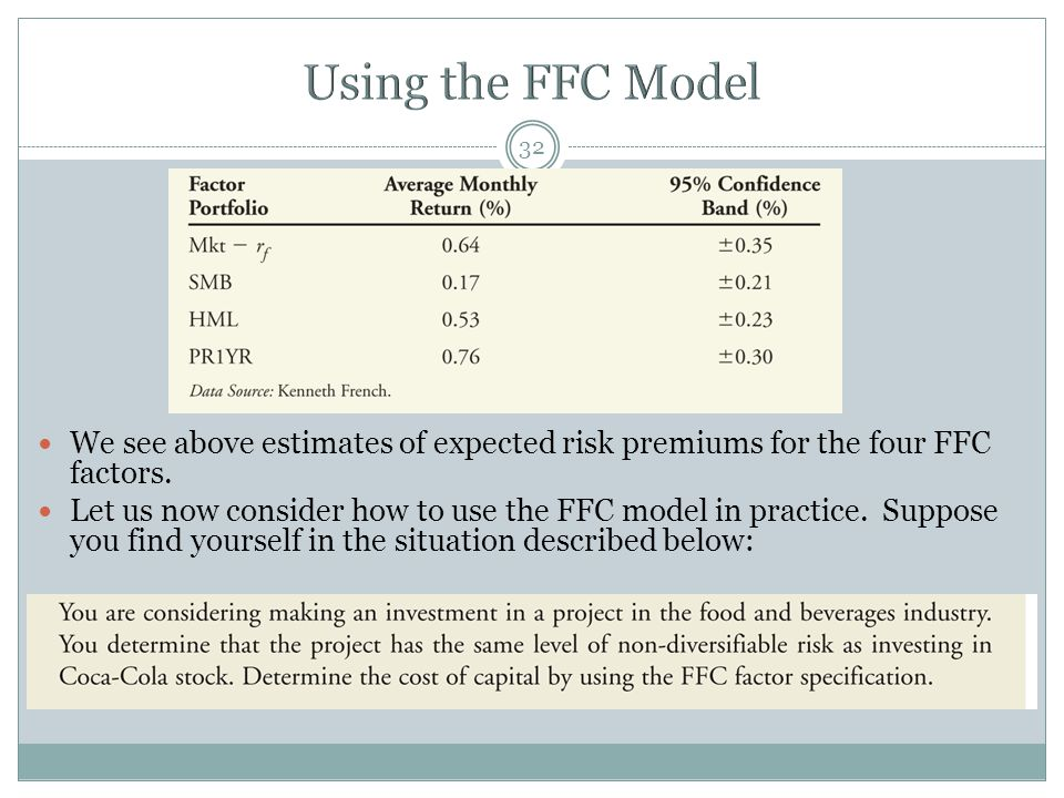 Using the FFC Model We see above estimates of expected risk premiums for the four FFC factors.