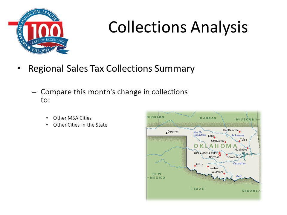 Collections Analysis Regional Sales Tax Collections Summary