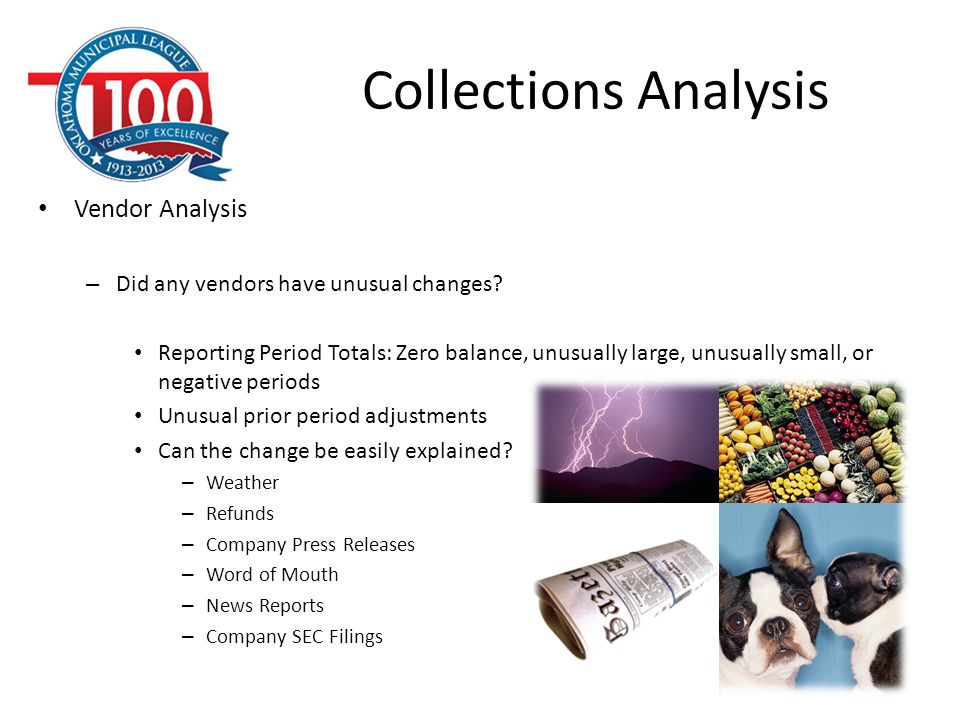 Collections Analysis Vendor Analysis