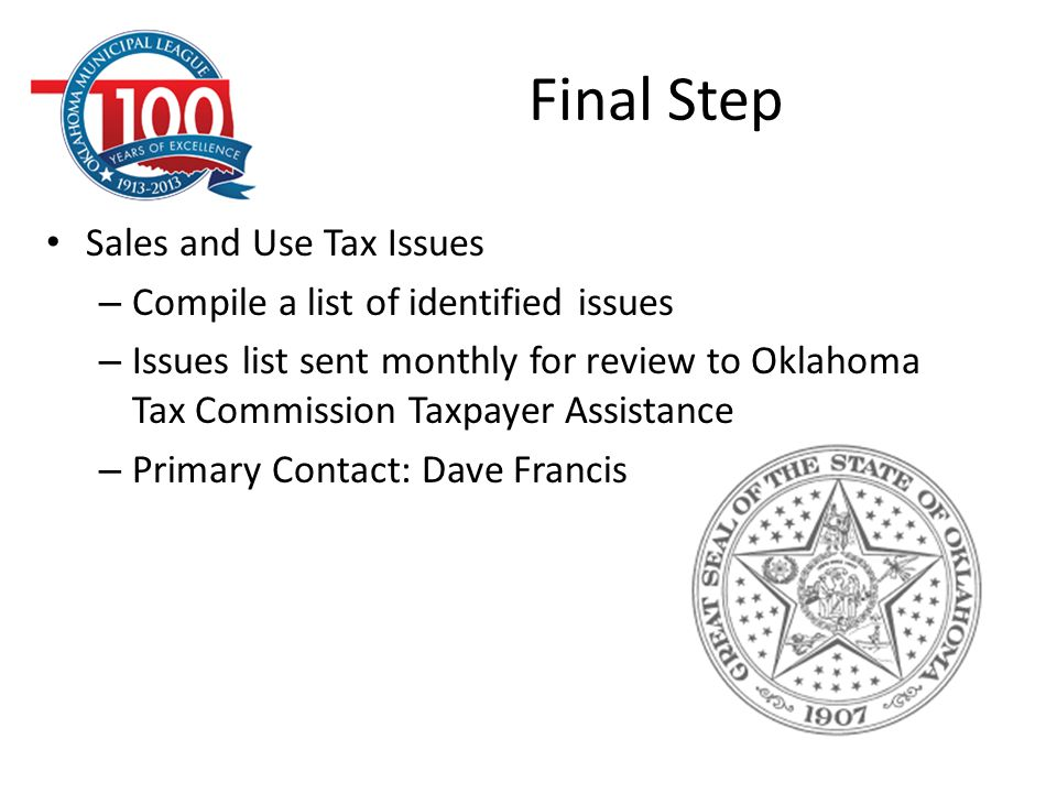 Final Step Sales and Use Tax Issues
