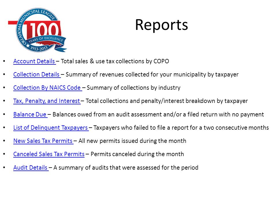 Reports Account Details – Total sales & use tax collections by COPO