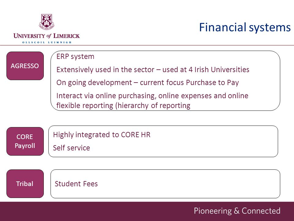 Financial systems ERP system