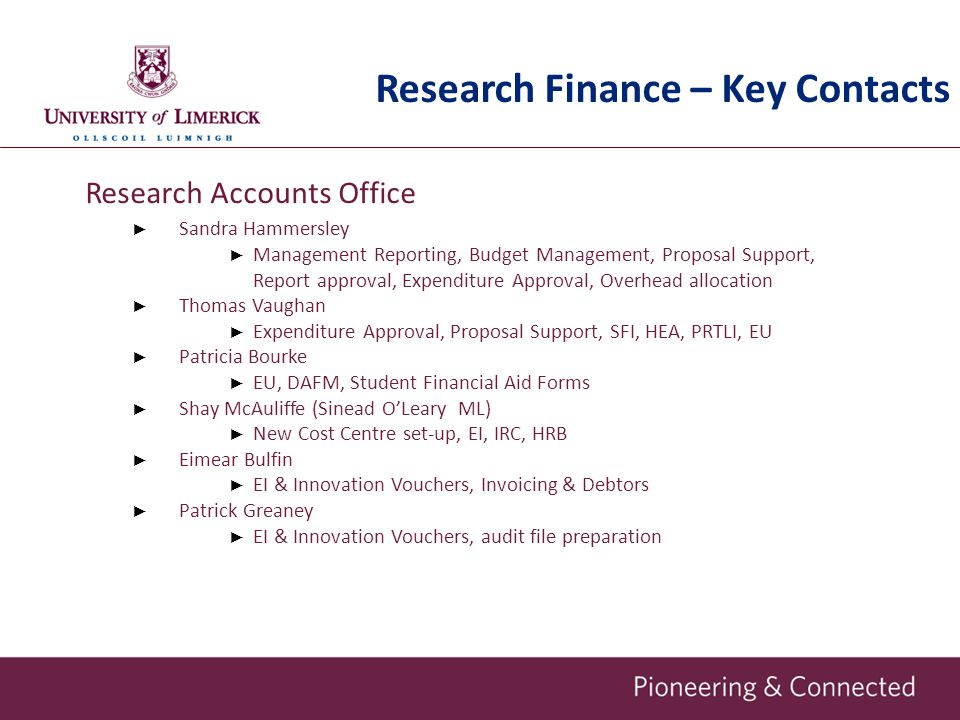 Research Finance – Key Contacts
