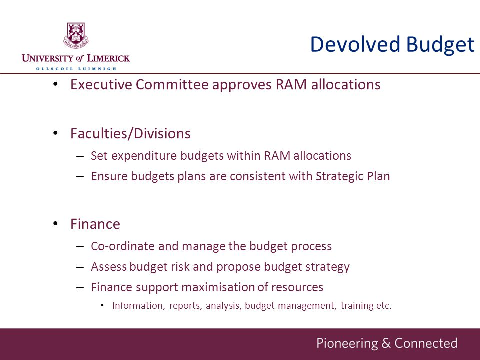 Devolved Budget Executive Committee approves RAM allocations