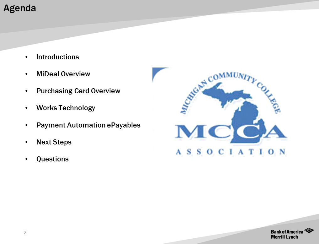 Agenda Introductions MiDeal Overview Purchasing Card Overview