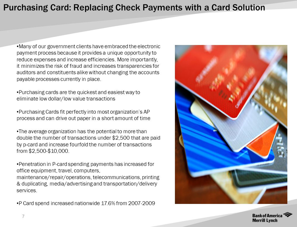 Purchasing Card: Replacing Check Payments with a Card Solution