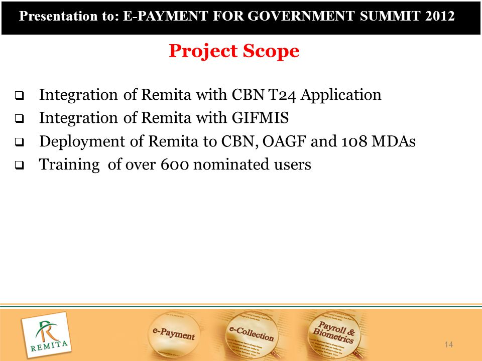 Project Scope Integration of Remita with CBN T24 Application