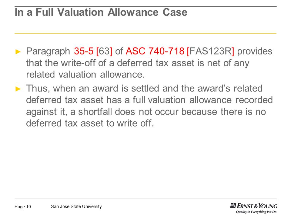 In a Full Valuation Allowance Case