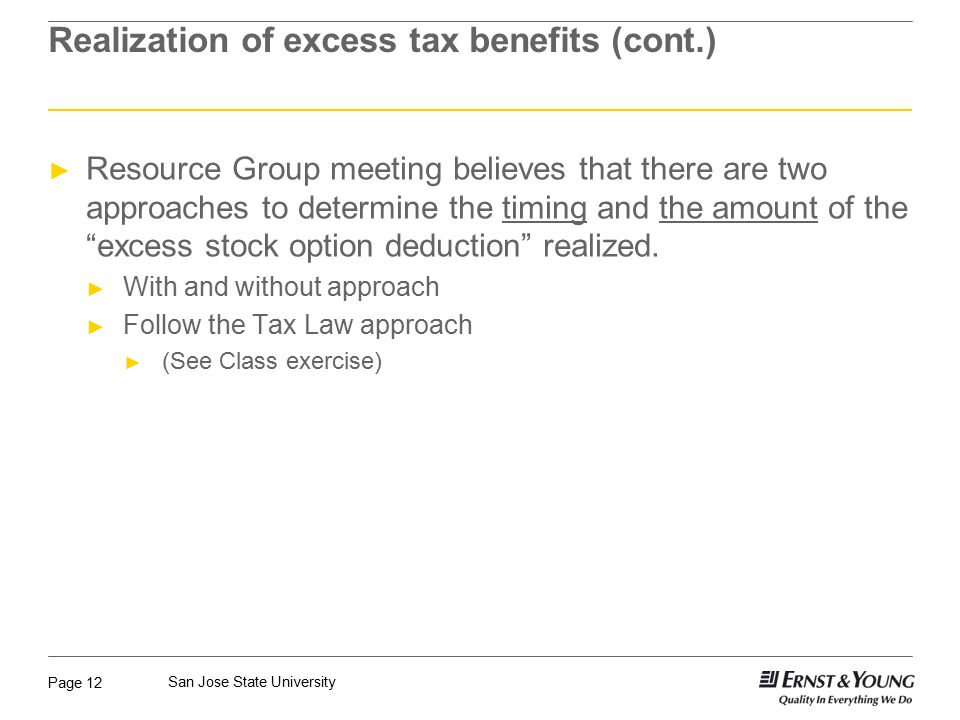 Realization of excess tax benefits (cont.)