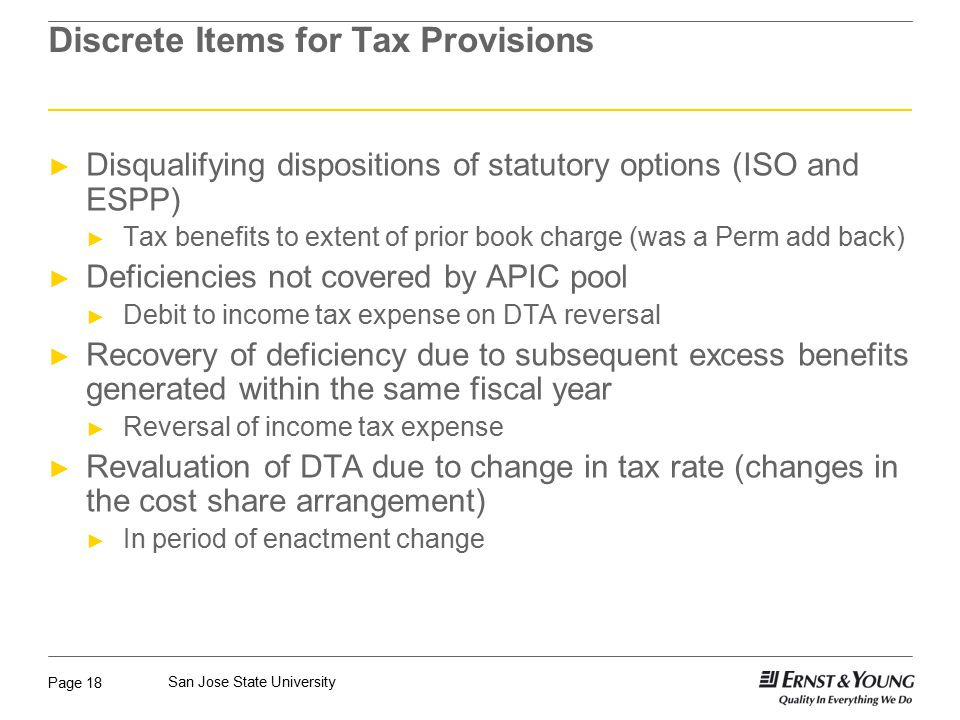 Discrete Items for Tax Provisions