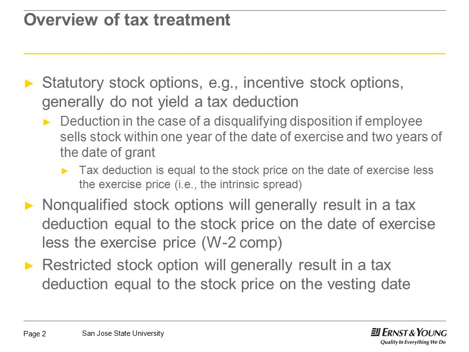 Exercise of stock options tax treatment