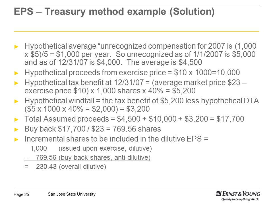 EPS – Treasury method example (Solution)