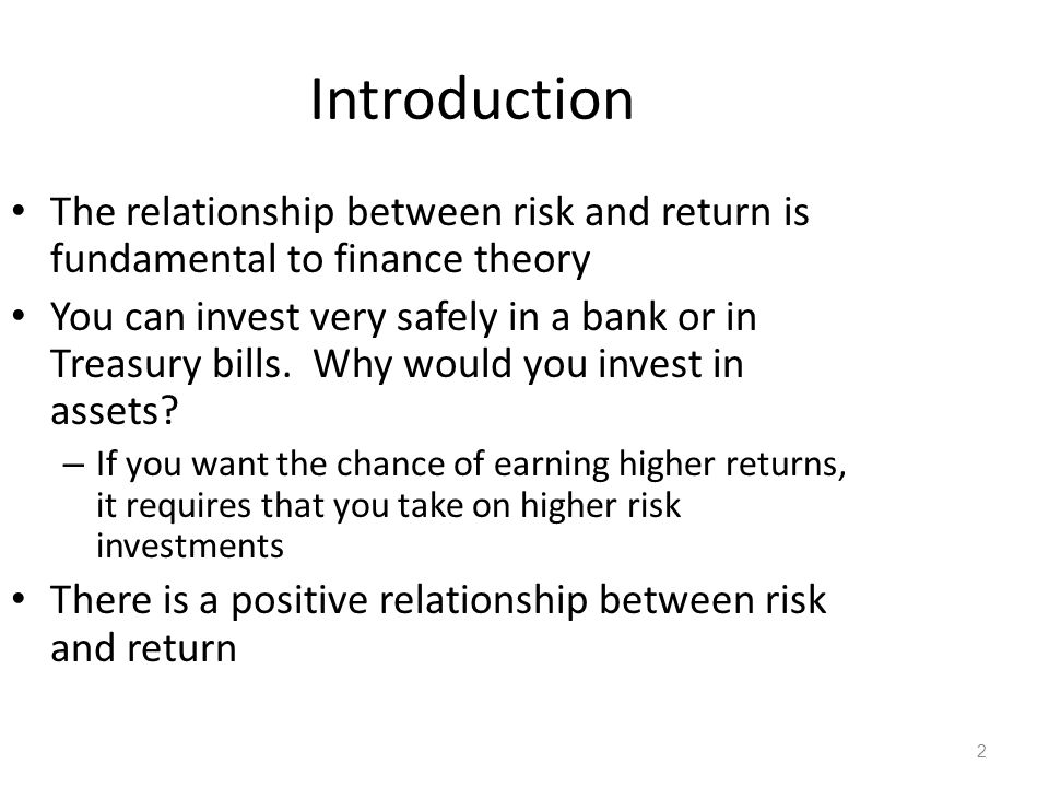Introduction The relationship between risk and return is fundamental to finance theory.
