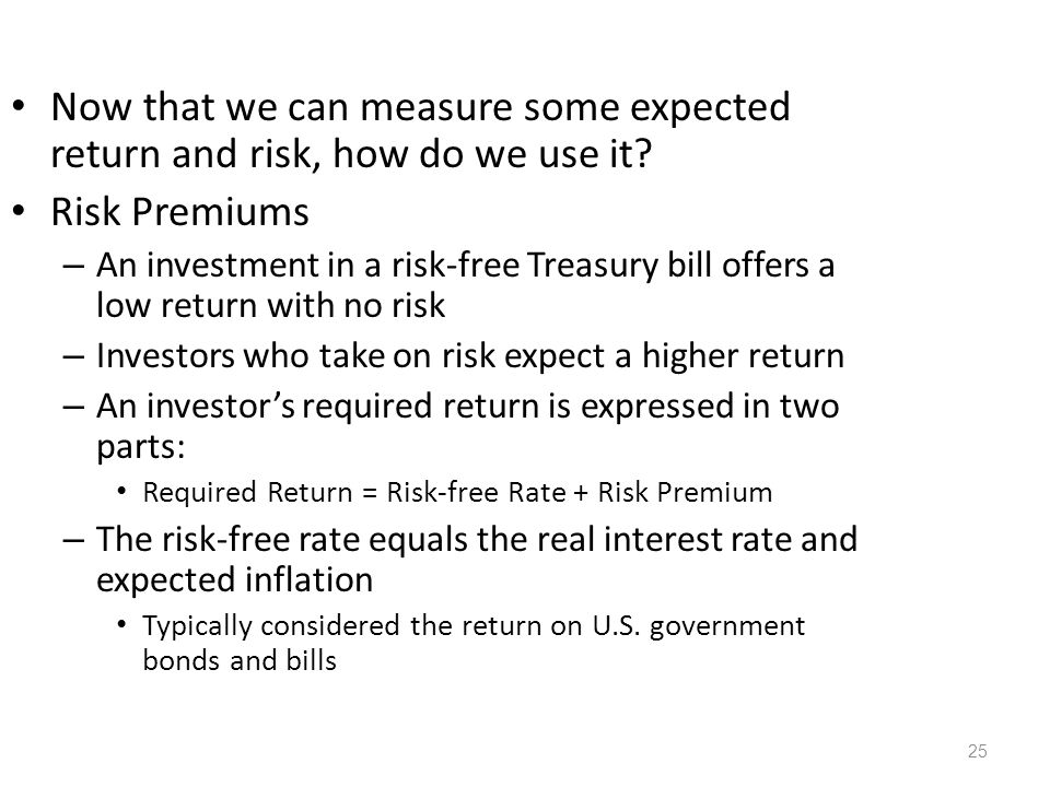 Now that we can measure some expected return and risk, how do we use it