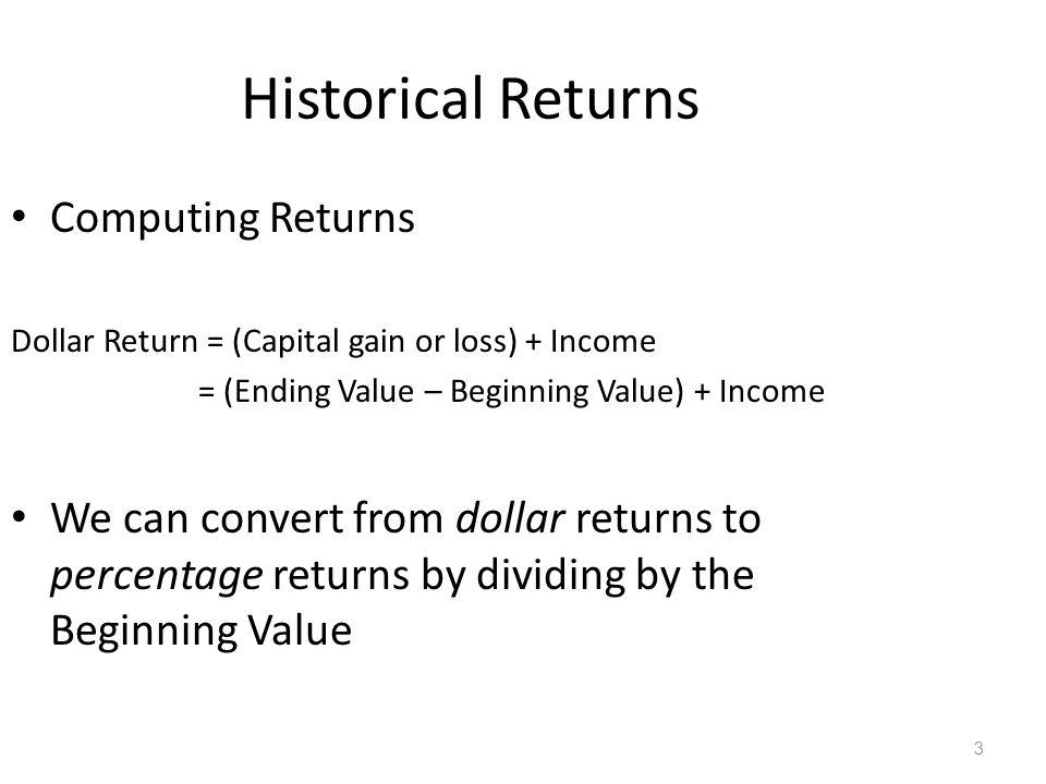Historical Returns Computing Returns