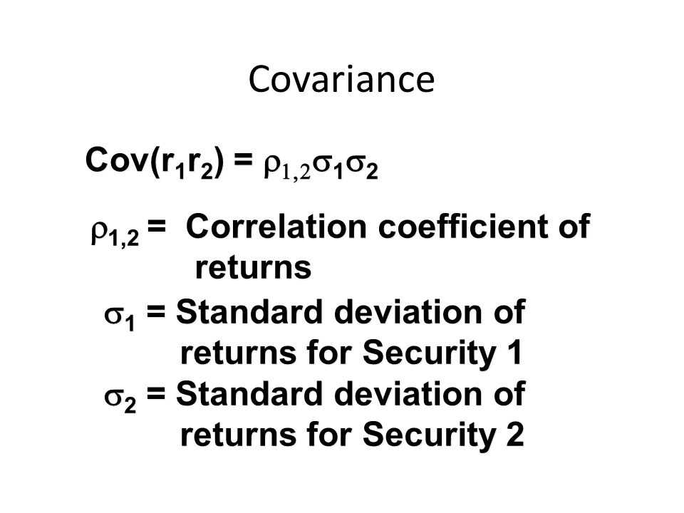 Covariance Cov(r1r2) = r1,2s1s2 r1,2 = Correlation coefficient of