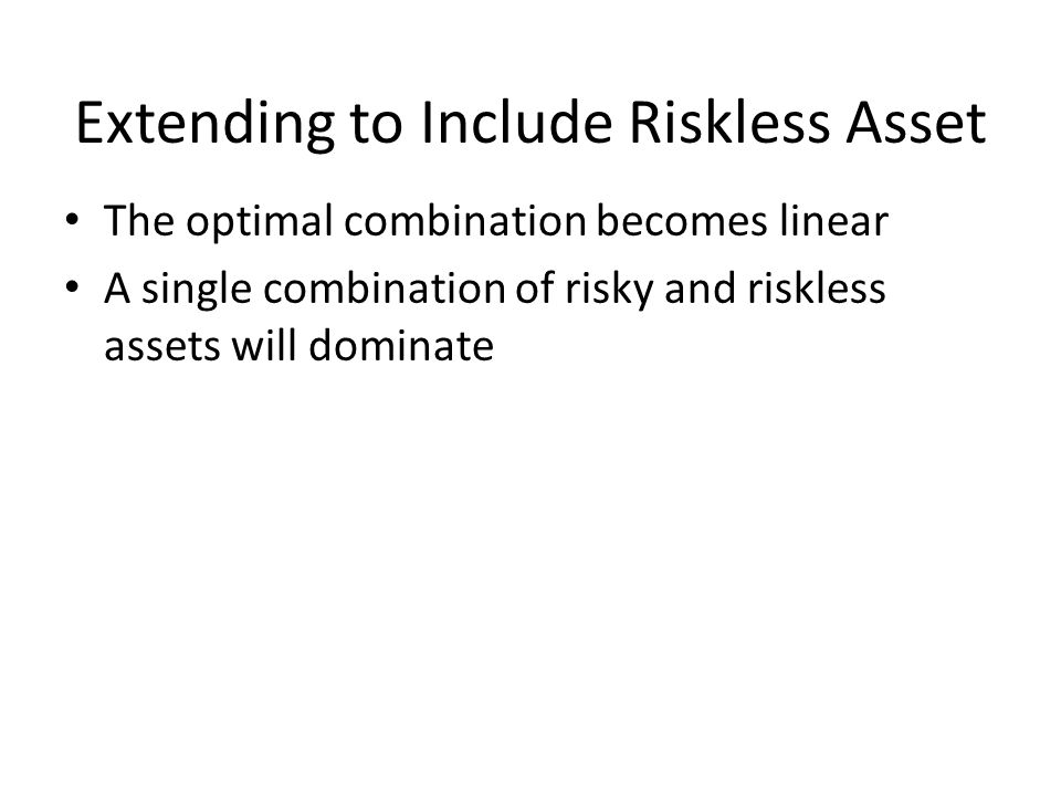 Extending to Include Riskless Asset