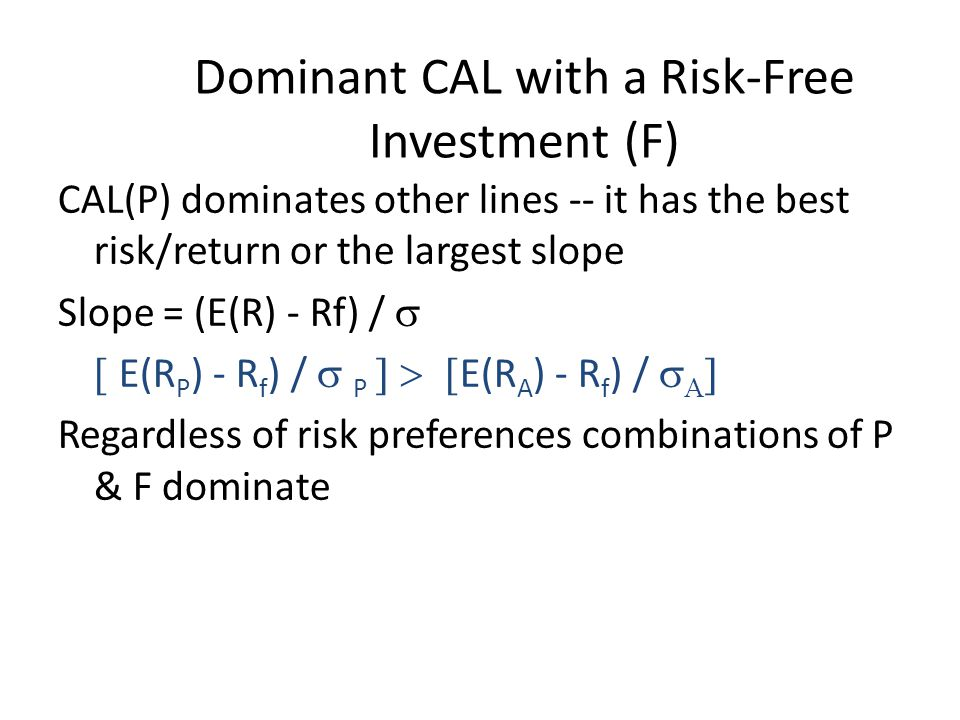 Dominant CAL with a Risk-Free Investment (F)