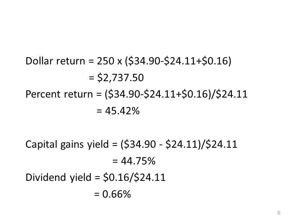 Dollar return = 250 x ($34. 90-$24. 11+$0. 16) = $2,737