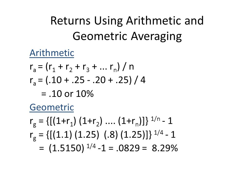 Returns Using Arithmetic and Geometric Averaging