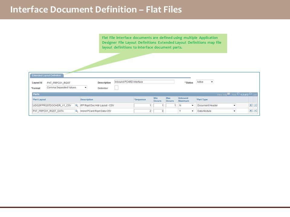 Interface Document Definition – Flat Files