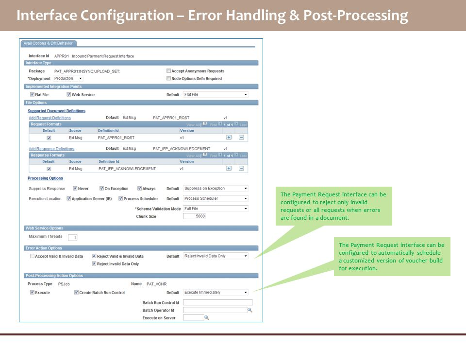 Interface Configuration – Error Handling & Post-Processing