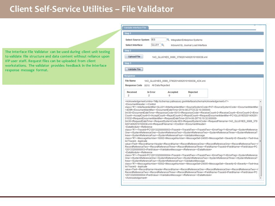 Client Self-Service Utilities – File Validator