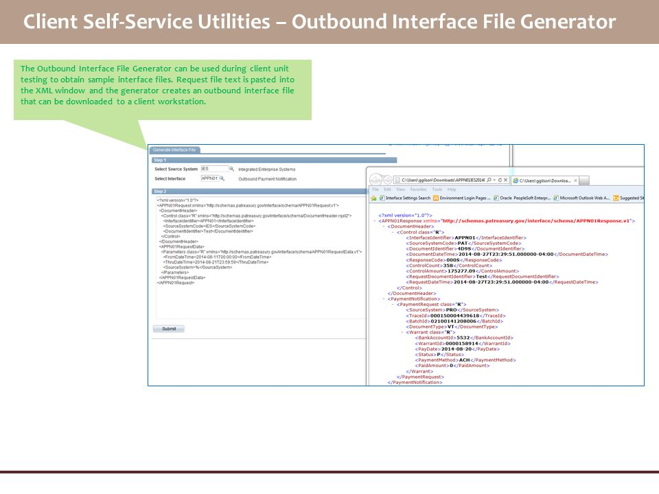 Client Self-Service Utilities – Outbound Interface File Generator