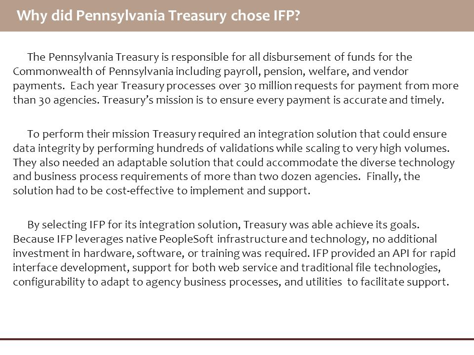 Why did Pennsylvania Treasury chose IFP