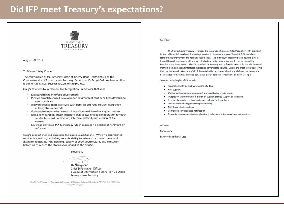 Did IFP meet Treasury's expectations