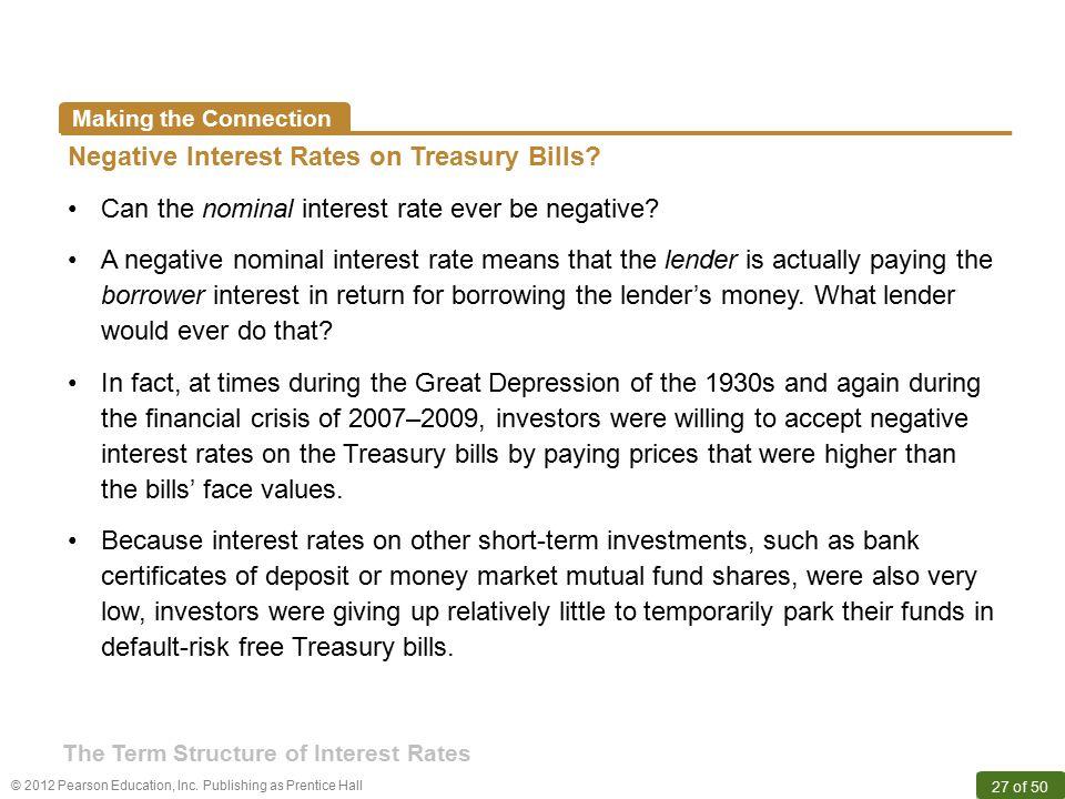 Negative Interest Rates on Treasury Bills