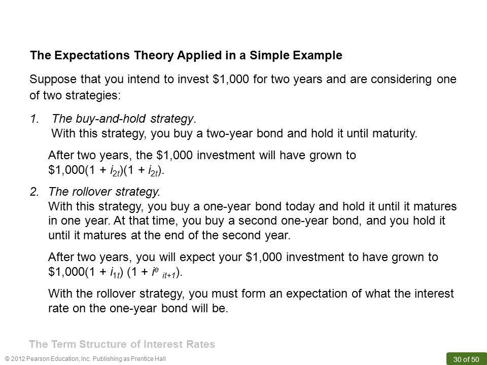 The Expectations Theory Applied in a Simple Example