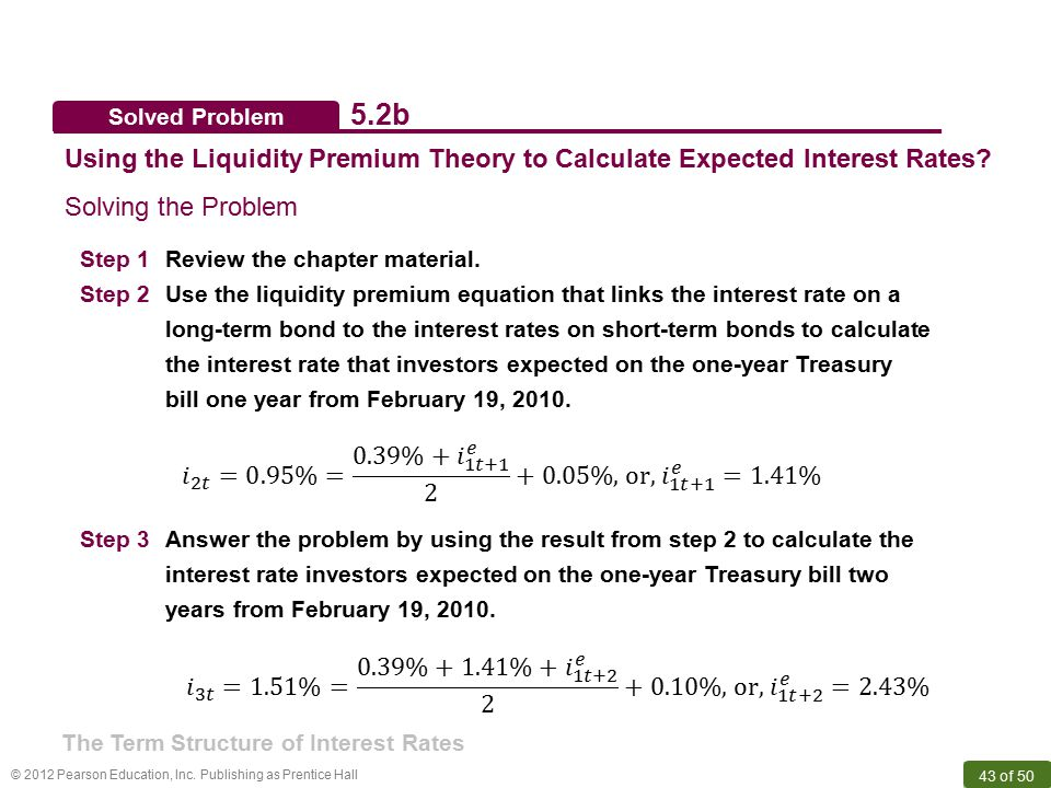 Solved Problem 5.2b. Using the Liquidity Premium Theory to Calculate Expected Interest Rates Solving the Problem.