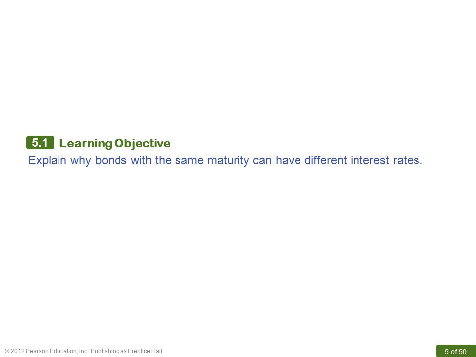 5.1 Learning Objective Explain why bonds with the same maturity can have different interest rates.