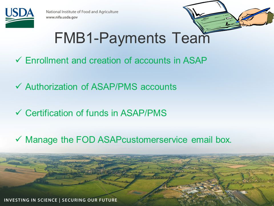 FMB1-Payments Team Enrollment and creation of accounts in ASAP