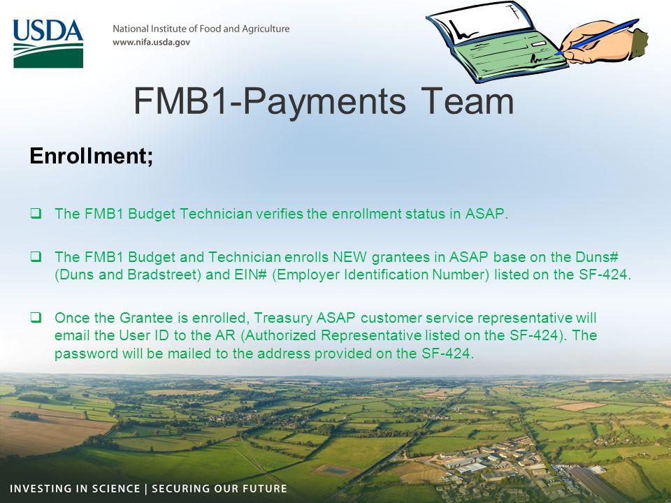 FMB1-Payments Team Enrollment;