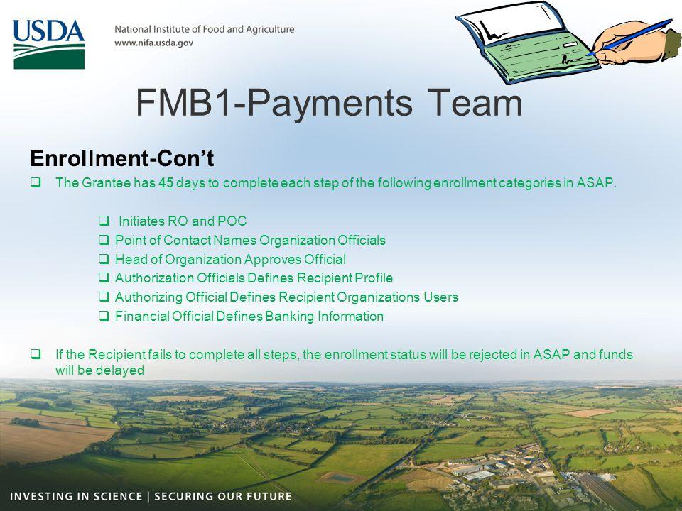 FMB1-Payments Team Enrollment-Con't