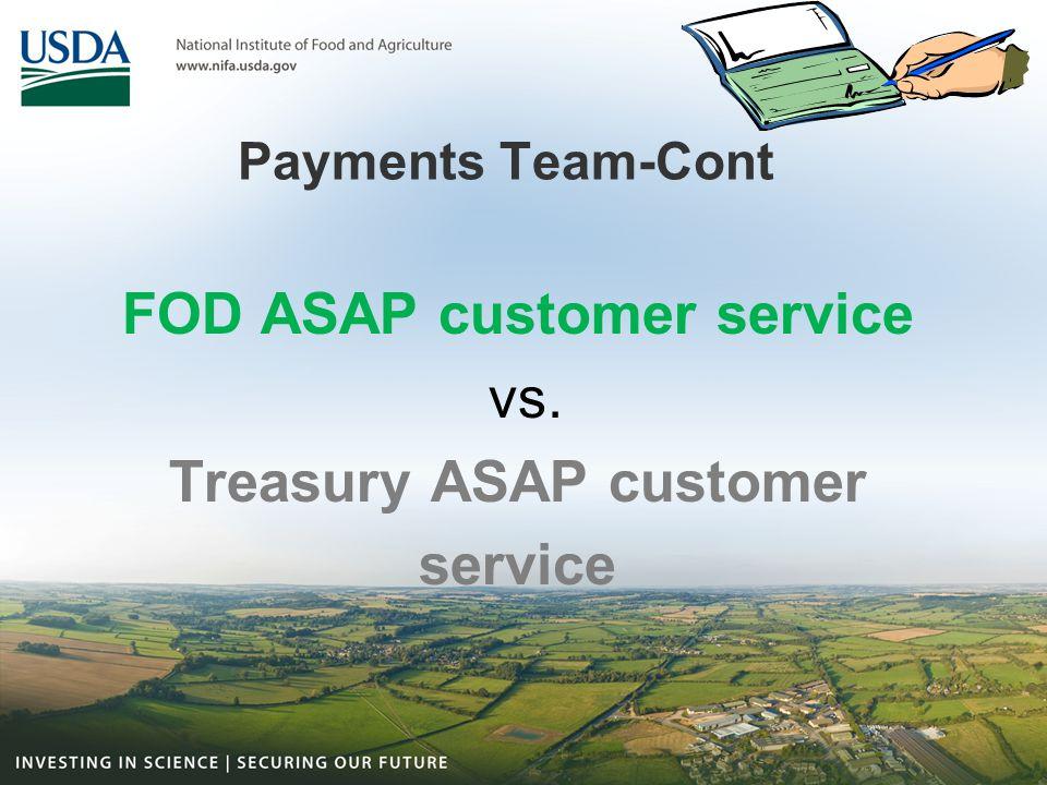 FOD ASAP customer service Treasury ASAP customer