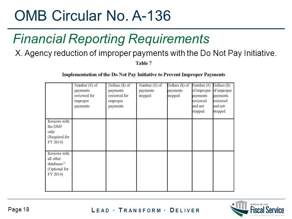 OMB Circular No. A-136 Financial Reporting Requirements